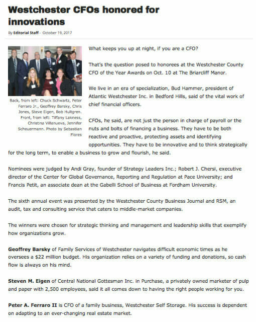 About Us Westchester CFO Honored